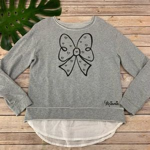Disney Parks gray Minnie Mouse bow sweater